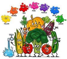 cores básicas com grupo de personagens vegetais vetor