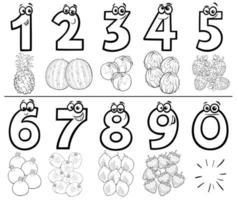 Conjunto de números de desenhos animados para colorir página de livro com frutas vetor