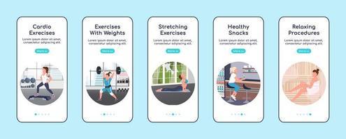 telas de aplicativos móveis de integração de exercícios de ginástica
