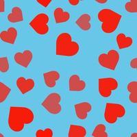 padrão sem emenda com corações em fundo azul vetor