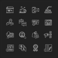 Conjunto de ícones de giz branco história de mídia social vetor