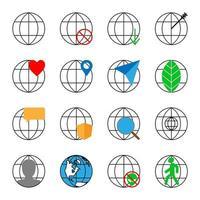 conjunto de 16 ícones com um globo vetor