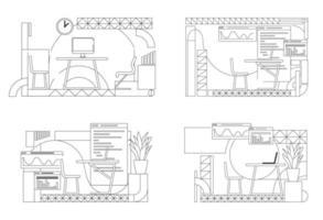 conjunto de esboço de design de interiores de escritório