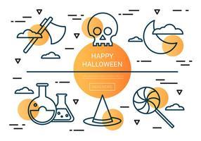 Ícones lineares de vetores lineares de Halloween