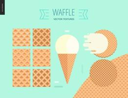 seis padrões de waffle sem costura em fundo de hortelã vetor