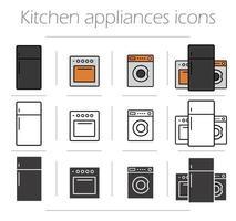 conjunto de ícones de aparelhos de cozinha vetor
