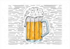 Ilustração da cerveja desenhada mão livre vetor