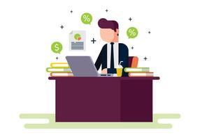 Financial cpa making report illustration vetor