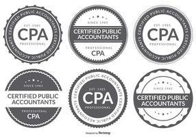Coleção do emblema do logotipo da contabilidade pública CPA Certified