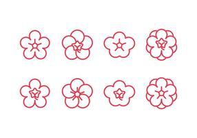 Ícones do conjunto de flores de ameixa vetor