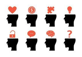 Ícones da mente aberta da mente vetor