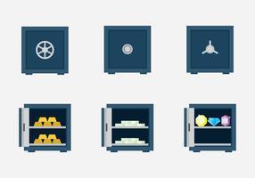 Conjunto de ícones de caixa segura vetor