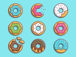 conjunto de rosquinhas coloridas de desenho animado