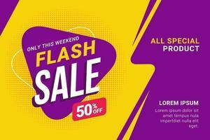 modelo de banner de desconto de venda flash vetor