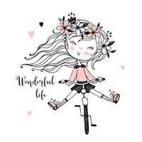 uma menina anda de bicicleta.