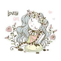 uma garota em uma coroa de flores sentado em uma pedra. vetor