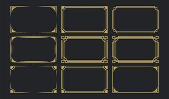 Conjunto de molduras douradas art déco vetor