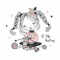 o bordado da garota tricotando um lenço. vetor