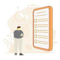 homem segurar telefone preencher formulário online candidatar-se a emprego vetor