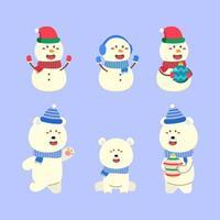 conjunto de personagens de atividade de natal de boneco de neve vetor