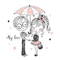 menino bonito e menina sob o guarda-chuva. encontro. vetor