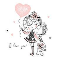 linda garota com um ursinho de pelúcia e um balão vetor