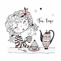linda garota bebendo chá. festa do Chá. vetor