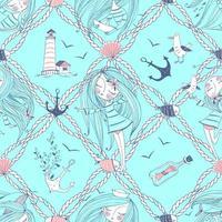 tema do mar com uma garota e gaivotas vetor