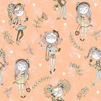 lindas meninas adolescentes na moda em um fundo laranja. vetor