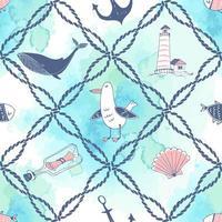 tema marinho com cordas do mar, baleias e gaivotas vetor