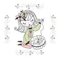 uma garota está envolvida em bordado e bordados vetor