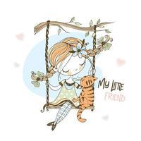 uma linda garota em um balanço com seu gato. vetor