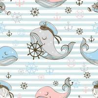 padrão sem emenda de um tema marinho. fundo com baleias. vetor