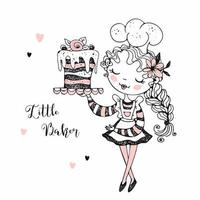 chef de pastelaria linda garota fazendo um bolo.