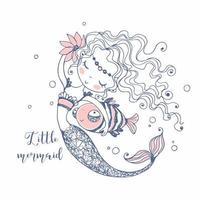 linda pequena sereia com um peixe. vetor