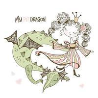 Linda fada princesa com seu dragão de estimação.