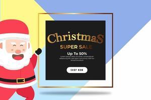 super venda de banner de natal em até 50 por cento vetor