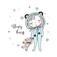 linda garota de pijama em forma de ursos