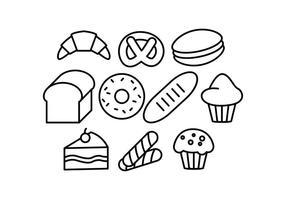 vetor de ícones de linha de pastelaria grátis