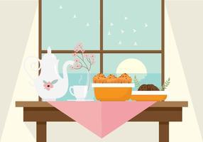 Vetor da ilustração do tempo do chá