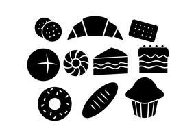vetor de ícone de silhueta de pastelaria grátis