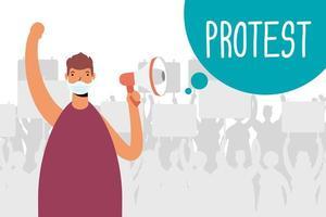 homem com máscara facial e megafone protestando