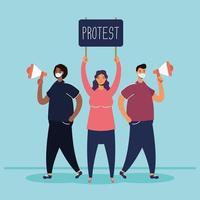 pessoas usando máscaras e protestando vetor