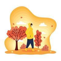 homem com máscara facial em uma paisagem de outono vetor