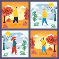 pessoas ao ar livre em diferentes cenas de temporada