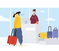 mulher com máscara facial fazendo check-in no aeroporto