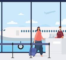 mulher com mala no aeroporto vetor