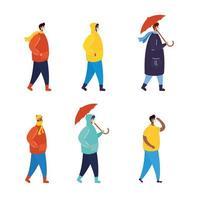 pessoas com máscaras faciais no conjunto de caracteres do perfil
