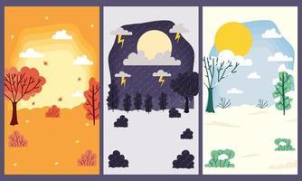 conjunto de fundo do cartão da cena das temporadas fofas