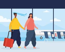 alguns viajantes com malas no aeroporto